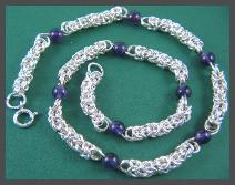 Sterlingsilverbyzantineandamethystnecklace